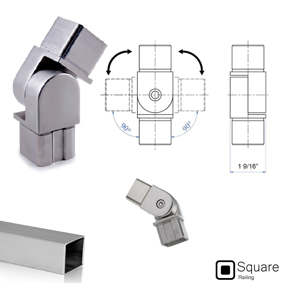 Pivotable Connector Fitting For Square Railing System